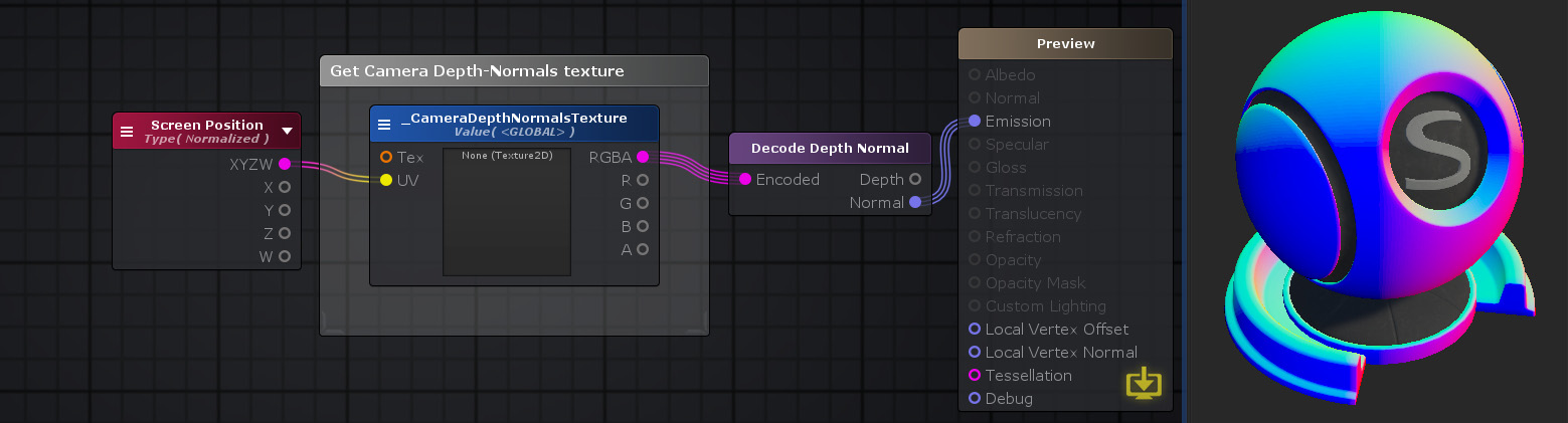 Unity Products:Amplify Shader Editor/Decode Depth Normal - Amplify