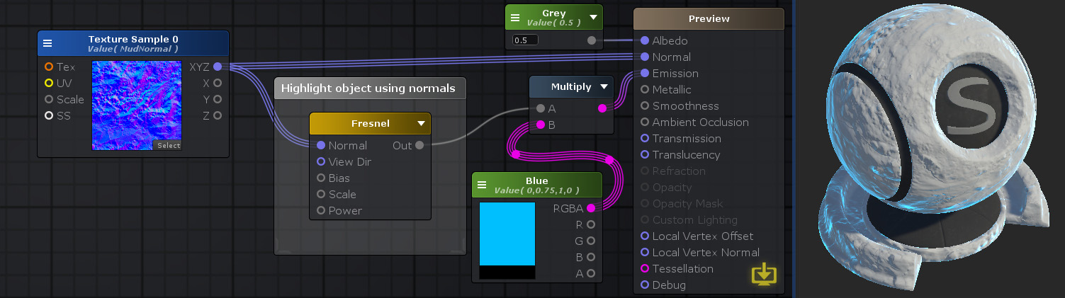 Unity Products:Amplify Shader Editor/Fresnel - Amplify Creations Wiki