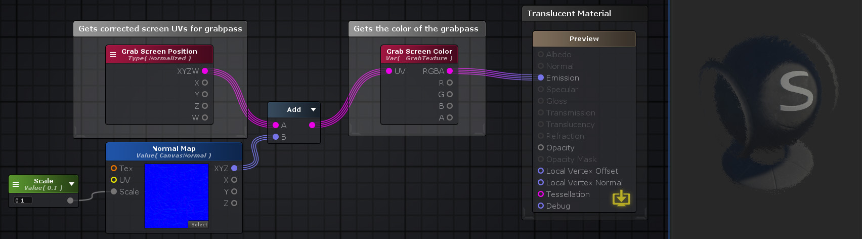 Unity Products:Amplify Shader Editor/Grab Screen Position