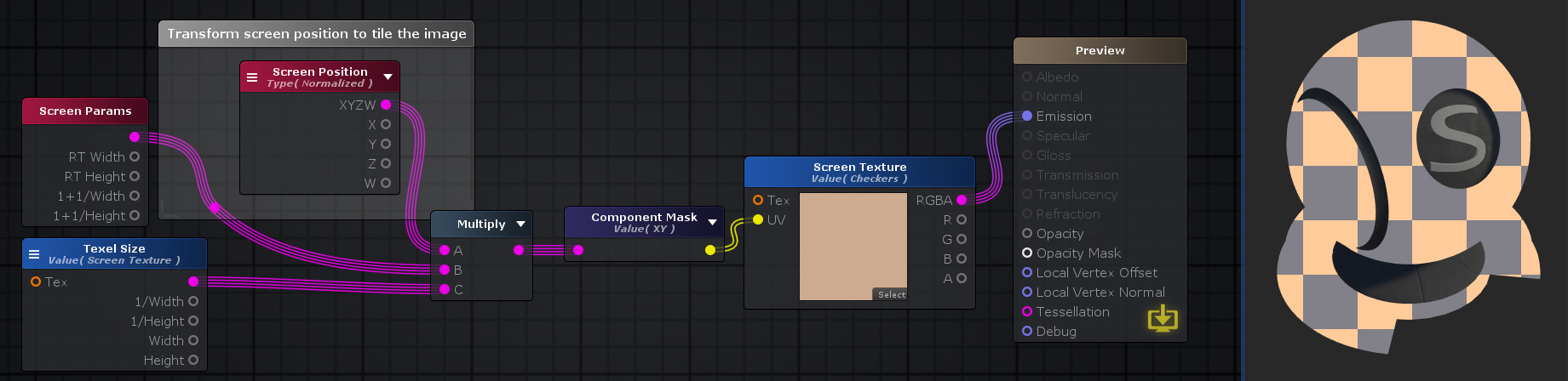 Unity Products:Amplify Shader Editor/Screen Position - Amplify